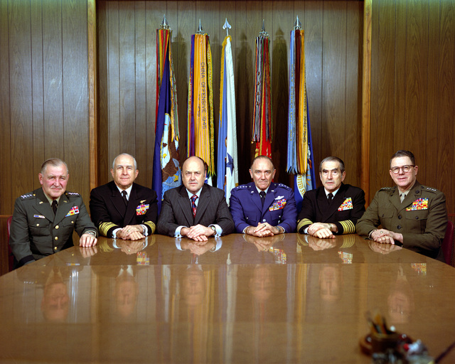 Secretary of Defense Melvin R. Laird meets with the Joint Chiefs of STAFF in his Pentagon office. Attending the meeting are, from left to right: GEN. Creighton W. Abrams, chief of staff, U.S. Army; Adm. Thomas H. Moorer, chairman; Secretary Laird; GEN. John D. Ryan, chief of staff, U.S. Air Force; Adm. Elmo R. Zumwalt Jr., chief of naval operations; and Gen. Robert E. Cushman Jr., commandant, U.S. Marine Corps