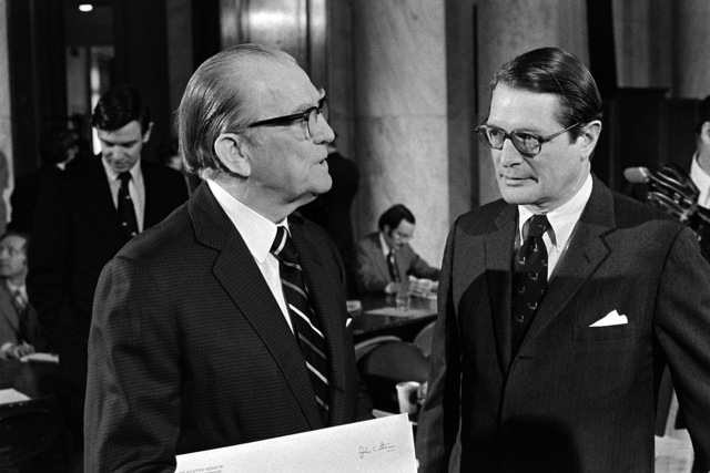 Secretary of Defense (designate) Elliot L. Richardson, right, talks with Sen. John C. Stennis, D-Miss., chairman, Senate Armed Services Committee, prior to his nomination hearing at the U.S. Capitol