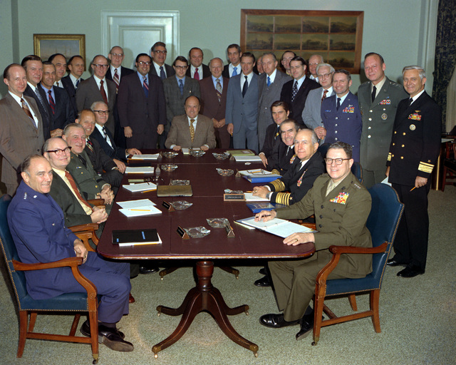 Secretary of Defense Melvin R. Laird meets for the last time with the Armed Forces Policy Council at the Pentagon