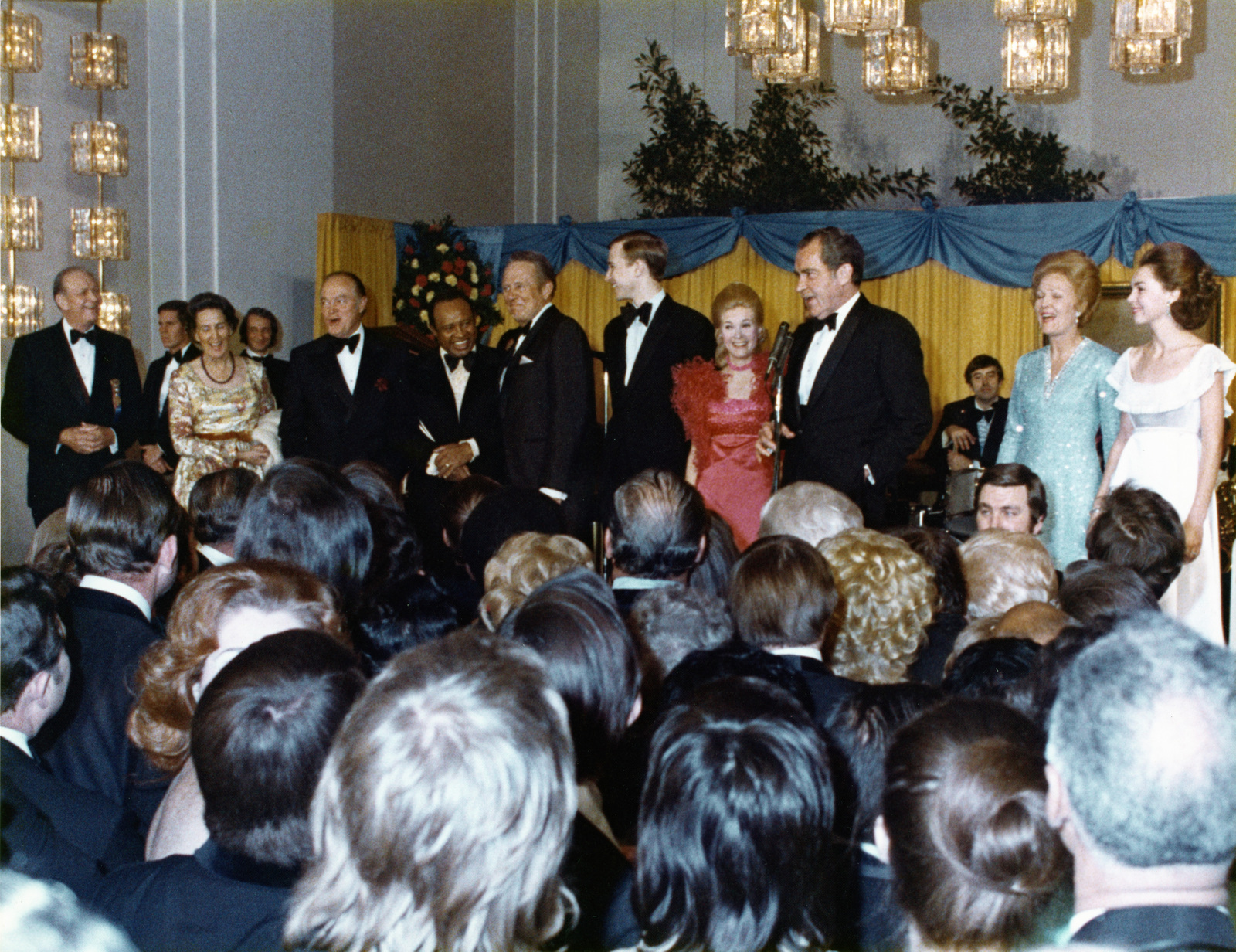 President Richard Nixon, with His Family and Celebrity Supporters, Addressing the Crowd Gathered in the Kennedy Center Grand Foyer to Celebrate the Inauguration