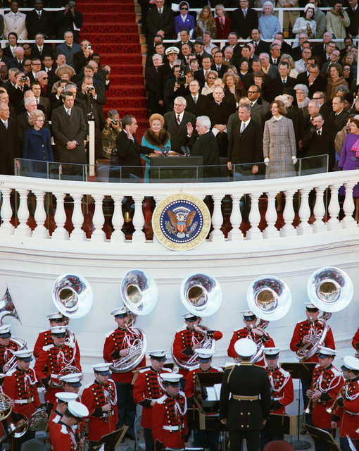 Richard Nixon Taking the Oath of Office during his Second Inauguration