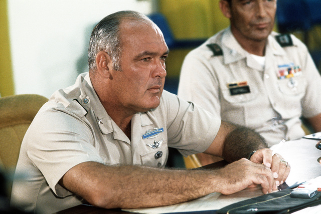 BGEN Stan McClellan, U.S. Army, CHIEF of STAFF Military Assistance Command-Vietnam (MACV) and co-chair of the Operation Homecoming debriefing, in a Military Assistance Command-Vietnam (MACV) conference room at Tan Son Nhut Airbase