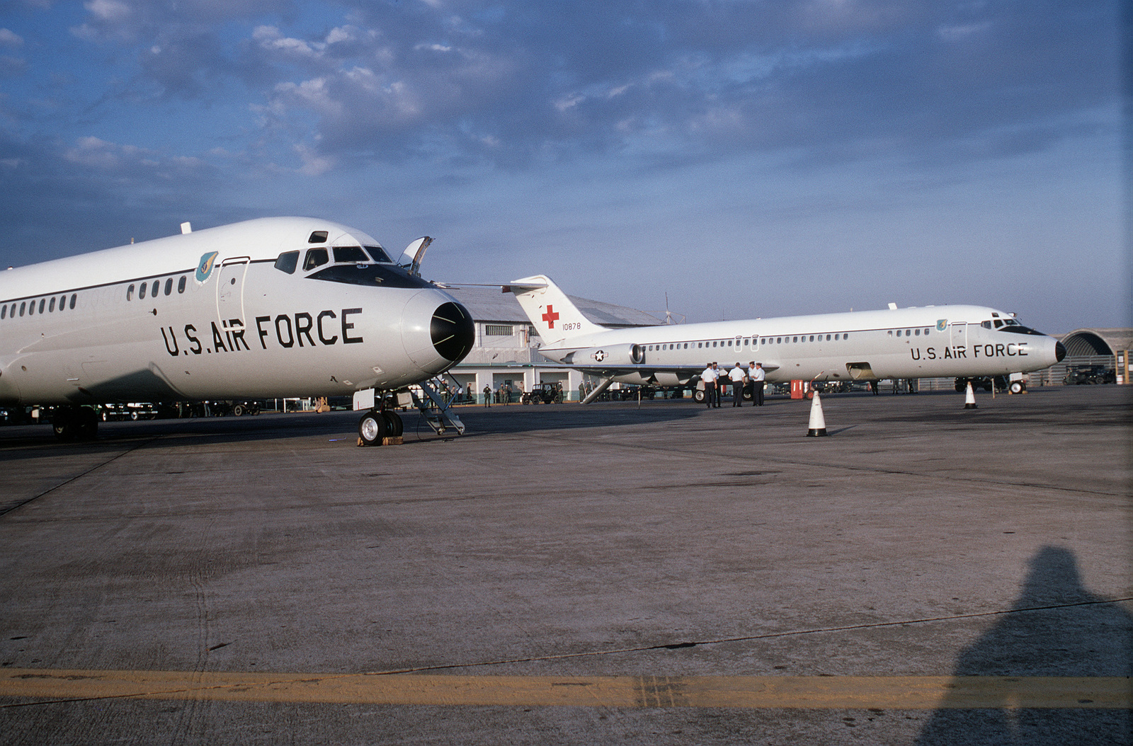 C-9 Nightingale medical evacuation aircraft on the flight line at Tan Son Nhut Air Base. The aircraft will be used to fly the American prisoners of war released by the Viet Cong at Loc Ninh, South Vietnam to Clark Air Base in the Philippines