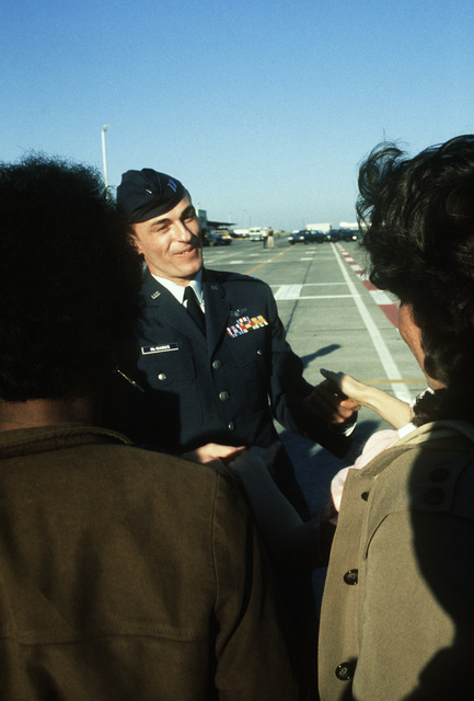 Former POW and U.S. Air Force CPT Kevin Joseph McManus talks to the press after his arrival from Clark Air Base, Philippines. CPT McManus was captured on 14 Jun 67 and released by the North Vietnamese in Hanoi on 12 Feb 73