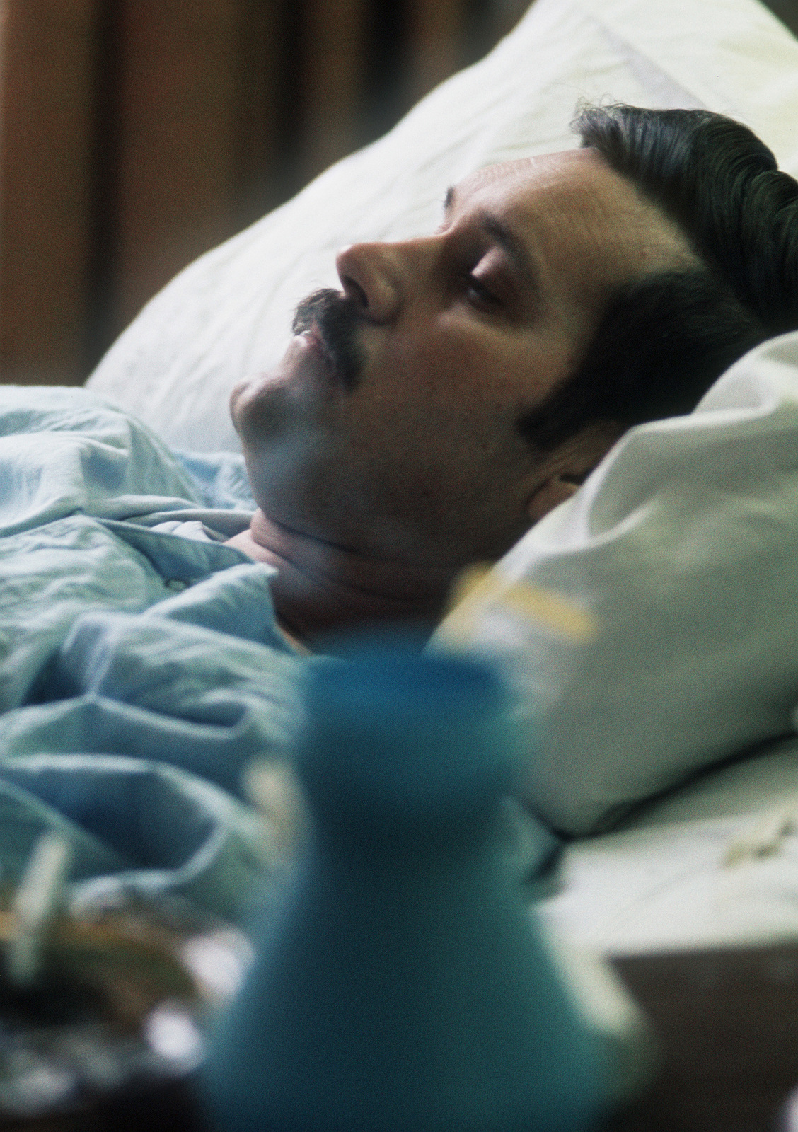 Former POW and U.S. Air Force SSGT Roy Madden Jr. in his hospital bed at the Grant Medical Center. SSGT Madden was captured on 22 Dec 72 and released by the North Vietnamese in Hanoi on 12 Feb 73