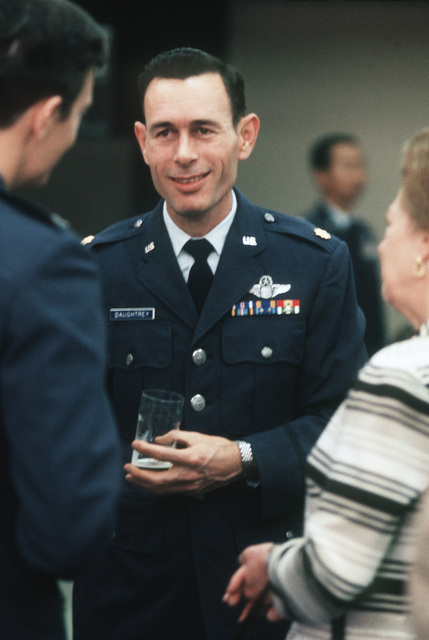 Former POW and U.S. Air ForceMAJ Robert Norland Daughtrey in the passenger lounge after his arrival from Clark Air Base, Philippines. MAJ Daughtrey was captured on 2 Aug 65 and released by the North Vietnamese in Hanoi on 12 Feb 73