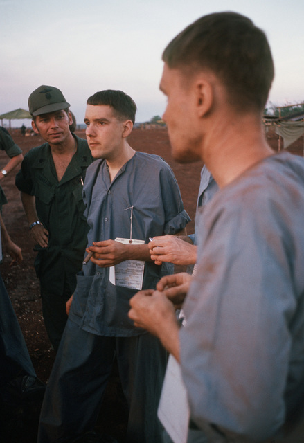 Ex-POWs and U.S. Army Captains, Mark A. Smith (Captured 7 Apr 72) and George K. Wanat Jr. (Captured 30 Apr 72), after their release by the Viet Cong to the American military. They are two of the twenty eight American POWs released by the Viet Cong on February 12, 1973