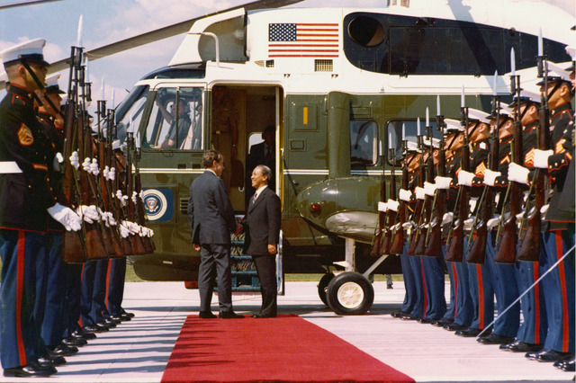 President Richard Nixon Bidding Farewell to South Vietnam's President Nguyen Van Thieu at the Door to the Air Force One Helicopter, Flanked by an Honor Guard on the Helipad of the Western White House, La Casa Pacifica, in San Clemente, California