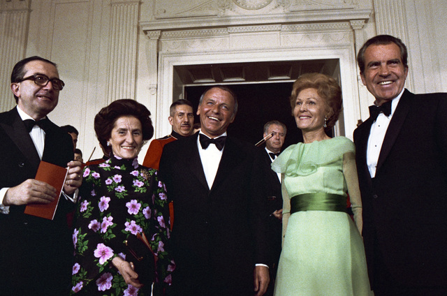 Frank Sinatra Standing with President Richard Nixon, Pat Nixon and President of the Council of Ministers of the Italian Republic Giulio Andreotti after Performing in the White House East Room