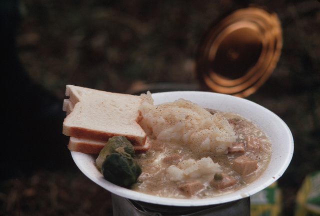 A view of a meal typical of what infantrymen dine on in the field