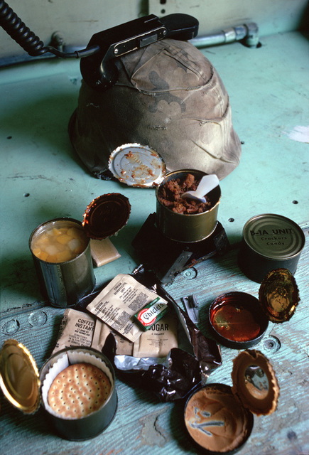 A view of some of the C-rations that infantrymen dine on during field training exercises
