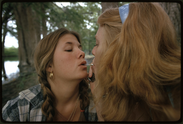 Two Girls Smoking Pot during an Outing in Cedar Woods Near Leakey, Texas, (Taken with Permission) One of Nine Pictures, Near San Antonio
