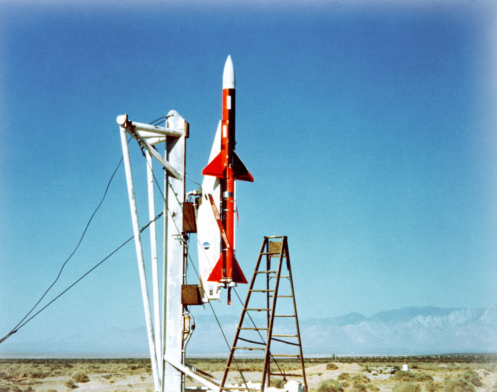 A view of a Sparrow air-to-air missile ready for a vertical launch at the test site