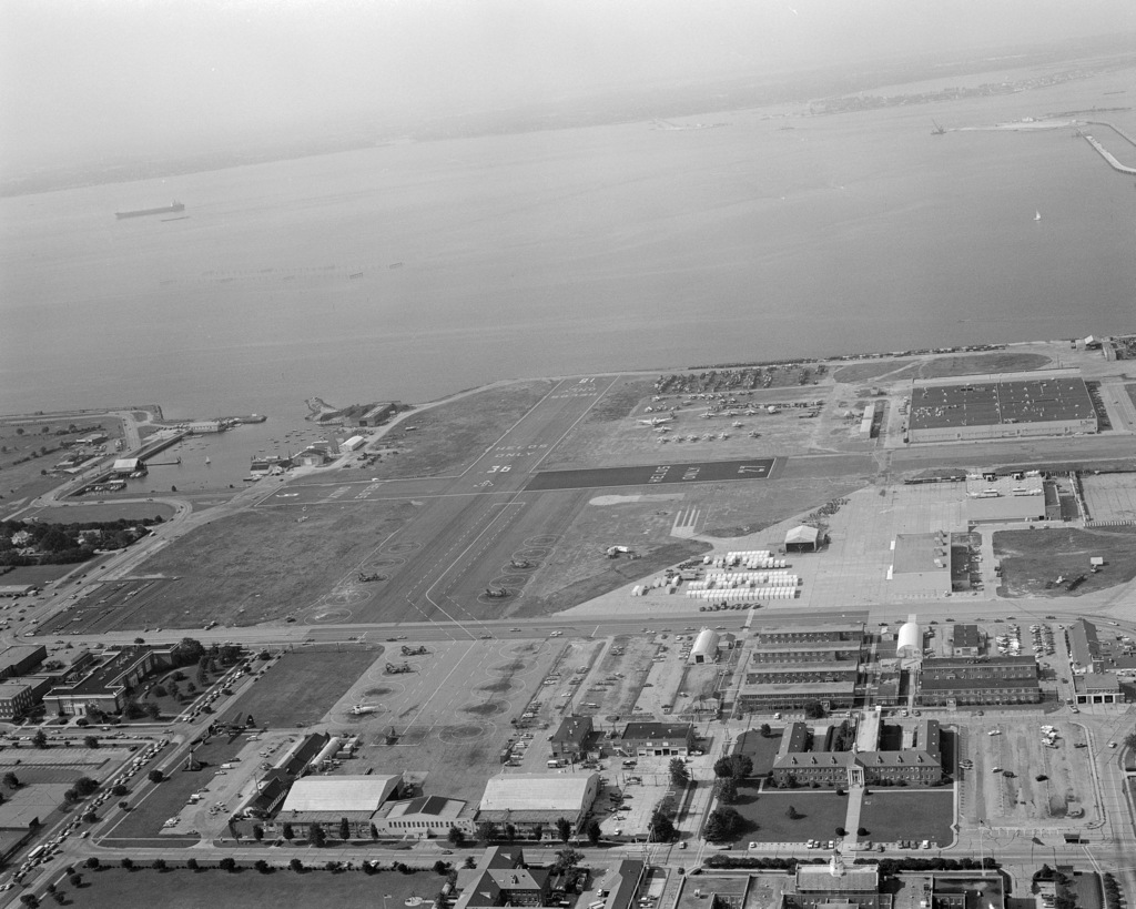 An aerial view of the heliport and crossswalks at Naval Air Station, Norfolk