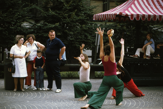 D'aug Days (Pronounced Dog) is a Month Long Presentation of All the Arts at Downtown Cincinnati's Immensely Popular Public Plaza, Fountain Square, Dancers from New Media Theater, a Cincinnati Group