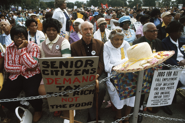 A Senior Citizens' March to Protest Inflation, Unemployment and High Taxes Stopped along Lake Shore Drive in Chicago to Hear Speeches from Various Officials, the Rally was Headed by the Rev Jesse Jackson and Operation Push