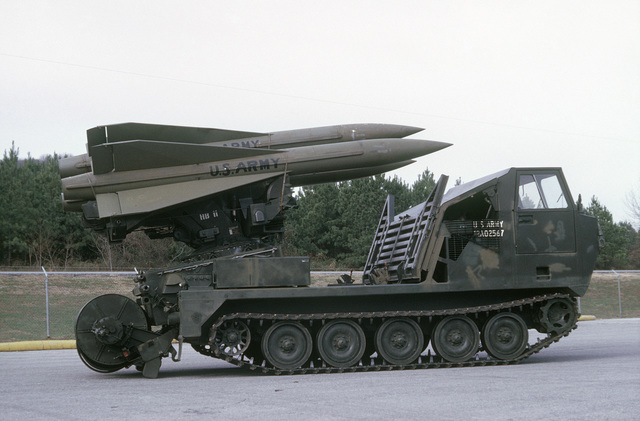 Right side view of a US Army M-727 self-propelled Hawk surface-to-air missile system
