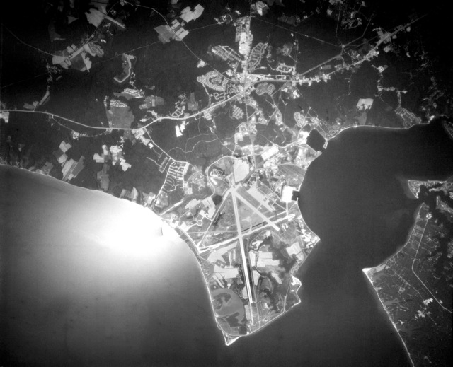 An aerial view of Naval Air Station, Patuxent River. (SUBSTANDARD)