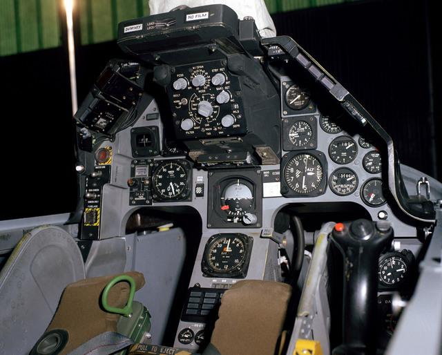 A YF-16 aircraft cockpit