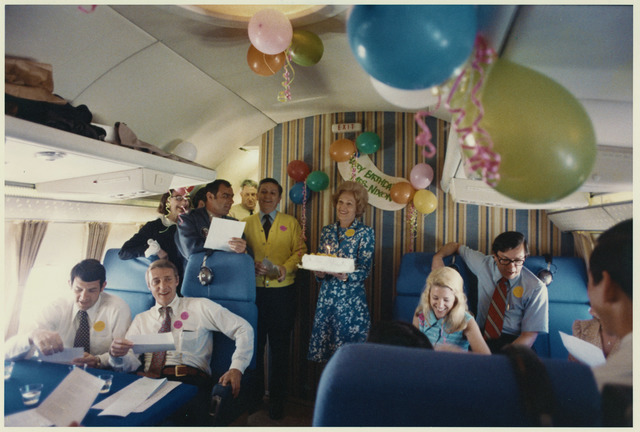 Pat Nixon Celebrating Her St. Patrick's Day Birthday aboard Air Force One