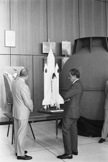 President Richard Nixon Examining a Model of the Space Shuttle at the Lyndon B. Johnson Space Center, NASA Space Museum and Orientation Center in Houston, Texas