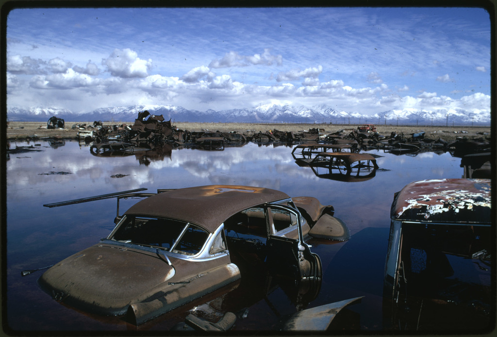 Abandoned Automobiles and Other Debris Clutter an Acid Water and Oil Filled Five Acre Pond, it Was Cleaned up Under EPA Supervision to Prevent Possible Contamination of Great Salt Lake and a Wildlife Refuge Nearby