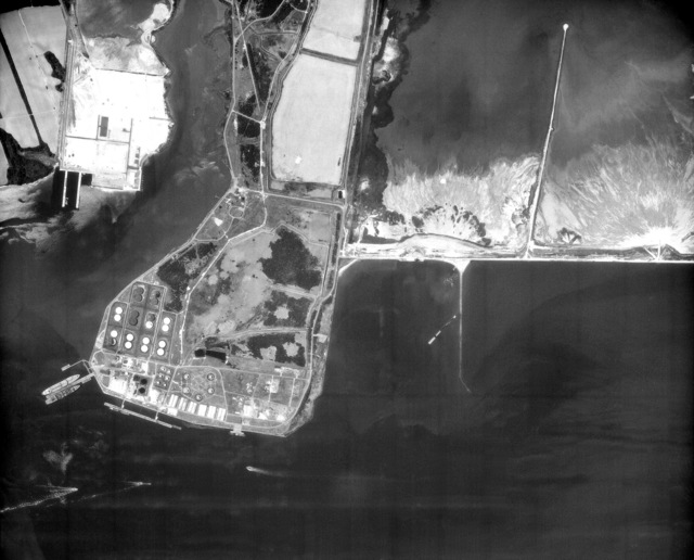 An aerial view of the US Naval Refueling Depot at Craney Island