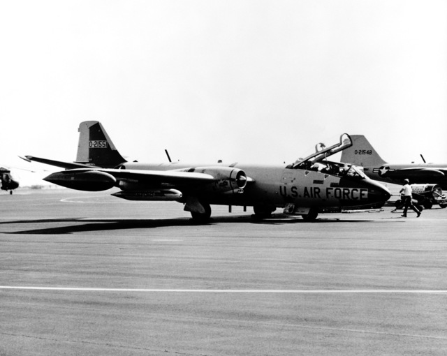 Right side view of an EB-57B Canberra aircraft parked on the flight line