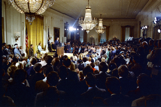 President Gerald R. Ford Delivering Remarks in the East Room after Being Sworn In as the 38th President of the United States