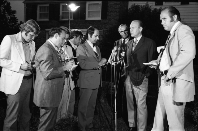 Vice President Gerald R. Ford Talks with Reporters Following President Richard Nixon's Announcement That He Will Resign