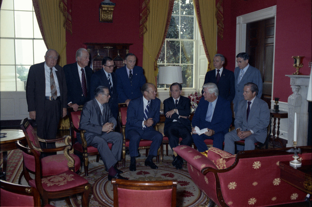 President Gerald R. Ford Meeting with Bipartisan Congressional Leaders in the Red Room following His Swearing In as 38th President of the United States