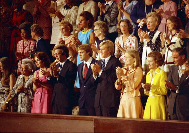 Julie Nixon Eisenhower, David Eisenhower, Jack Ford, Steve Ford, Susan Ford, First Lady Betty Ford, Alexander M. Haig, and Others Applauding in the Gallery of the House Chamber during President Gerald R. Ford's Address to a Joint Session of Congress