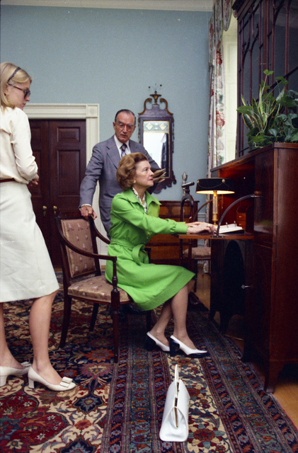 First Lady Betty Ford and Susan Ford View the President's Rooms with Curator Clem Conger during a Tour of the White House
