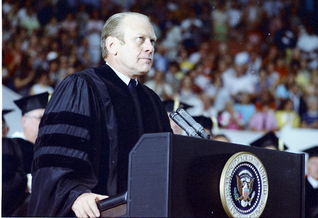 President Gerald R. Ford Gives the Commencement Address at The Ohio State University in the St. John Arena, Columbus, Ohio