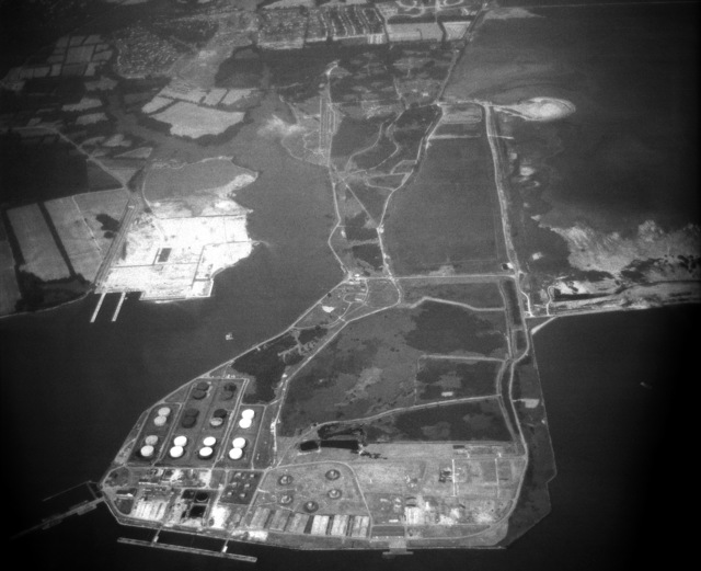 An aerial view of the US Naval Refueling Depot at Craney Island. (SUBSTANDARD)