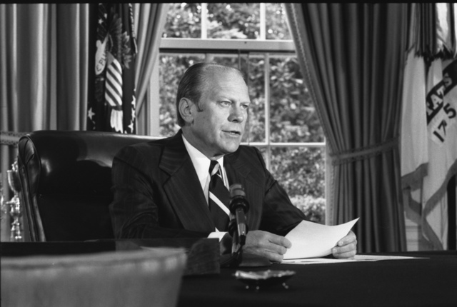Photograph of President Gerald Ford Announcing His Decision to Grant a Pardon to Former President Richard Nixon