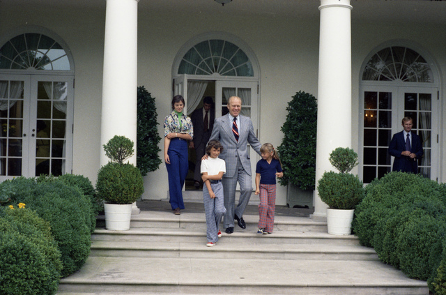 President Gerald R. Ford Greeting Patti Albers, the Millionth Visitor to the White House in 1974