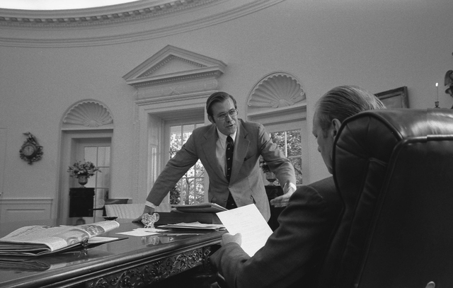 Photograph of President Gerald R. Ford and Chief of Staff Donald Rumsfeld in the Oval Office