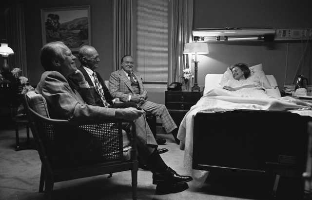 Photograph of President Gerald R. Ford, Hugh Davis, and Bob Hope  Visiting First Lady Betty Ford at the Bethesda Naval Hospital in Maryland during Her Recovery from Breast Cancer Surgery