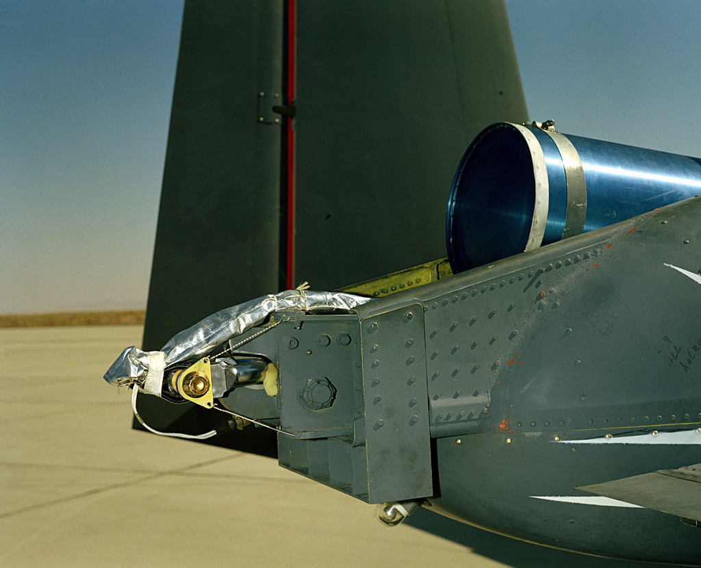 A rear view of an A-10A Thunderbolt II aircraft showing the spin chute test before opening
