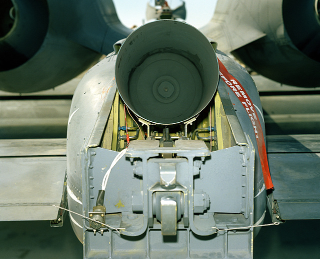 A rear view of the open spin chute compartment on an A-10A Thunderbolt II aircraft