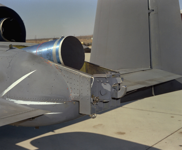 A rear view of the spin chute compartment on an A-10A Thunderbolt II aircraft