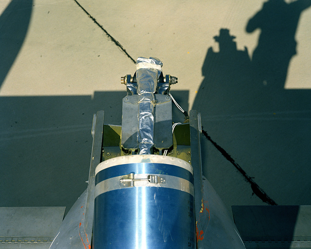 A view of the spin chute compartment on the rear of an A-10A Thunderbolt II aircraft