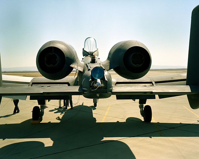 Rear view of an A-10A Thunderbolt II aircraft showing the spin chute compartment