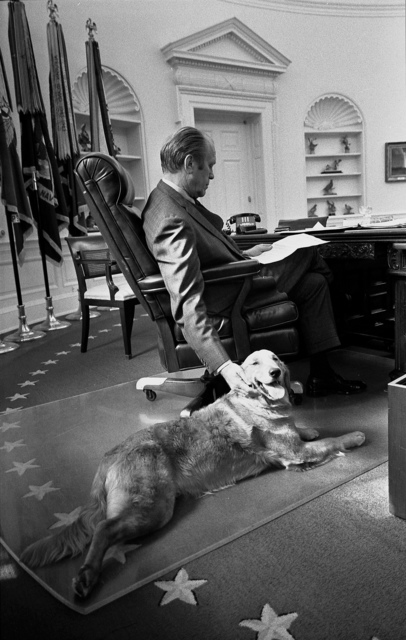 President Gerald R. Ford and his Golden Retriever, Liberty, in the Oval Office