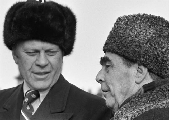 Photograph of President Gerald Ford with Soviet General Secretary Leonid Brezhnev upon Ford's Arrival at Vozdvizhenka Air Base, near Vladivostok, U.S.S.R.