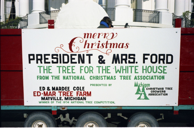 Photograph of a Sign on the Truck that Delivered the Blue Room Christmas Tree from the Ed-Mar Tree Farm, Maryville, Michigan