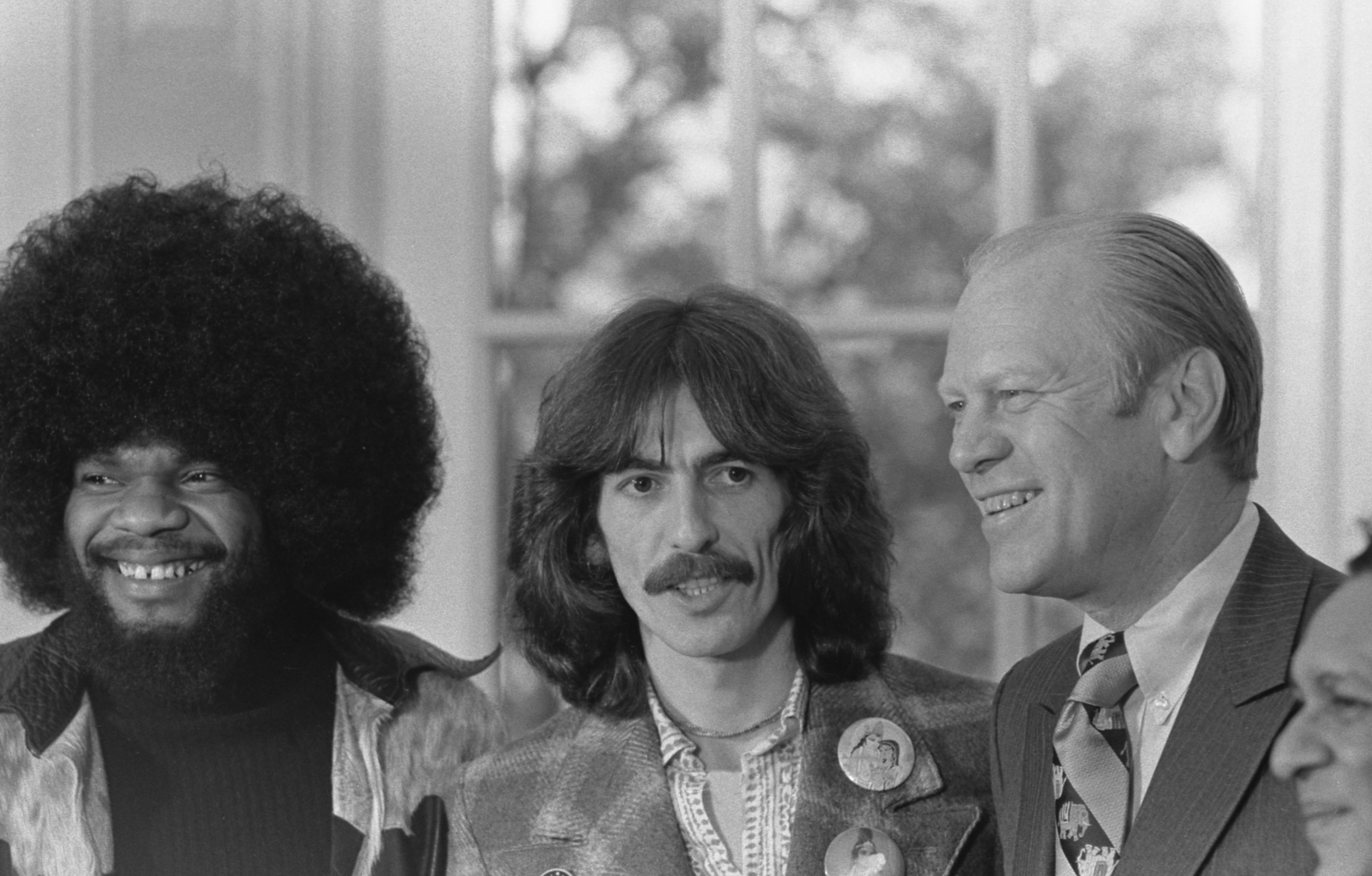 Photograph Of President Gerald R Ford With George Harrison And Billy Preston In The Oval Office U S National Archives Public Domain Image