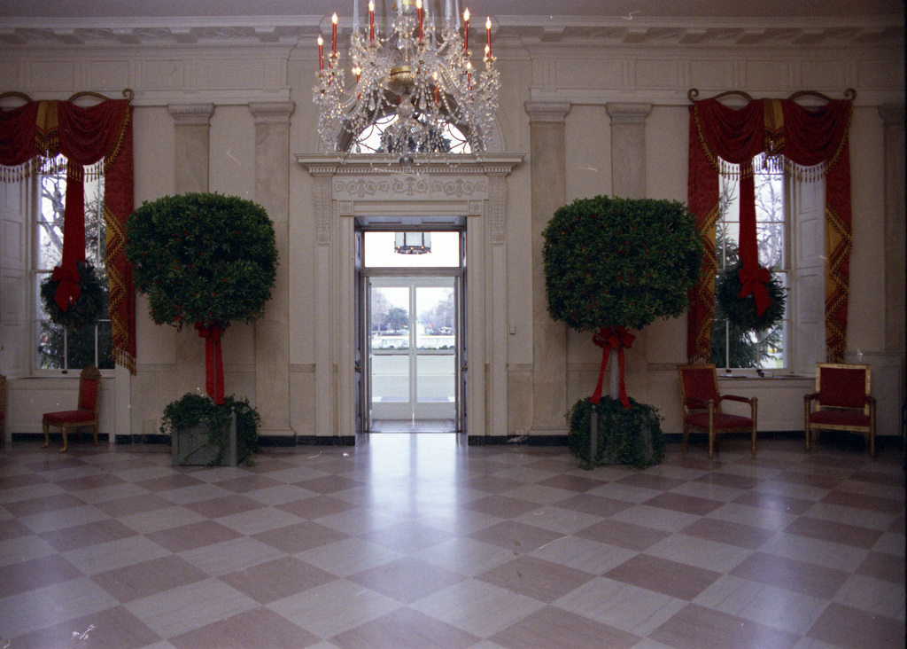 Photograph of the White House Grand Foyer Decorated for Christmas
