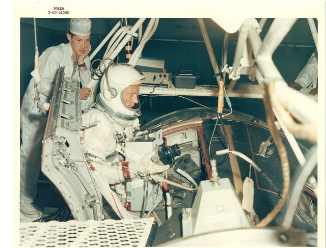 Photograph of Astronaut Buzz Aldrin Entering the 30' Altitude Chamber